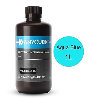 ANYCUBIC LCD UV 405nm Rapid Resin for Photon 3D Printer-1 L/ 1 kg Aqua Blue