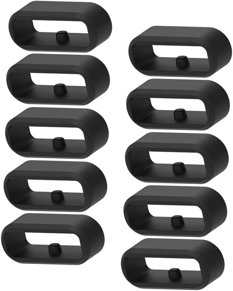 Chofit seguridad anillos compatibles con Garmin Vivoactive 3 Music & Vivoactive 3 correas de inteligente reloj silicona bandas conector Keepers negro (10 unidades)