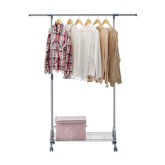 Langria Penderie Portant À Vêtements Télescopique En Métal Avec