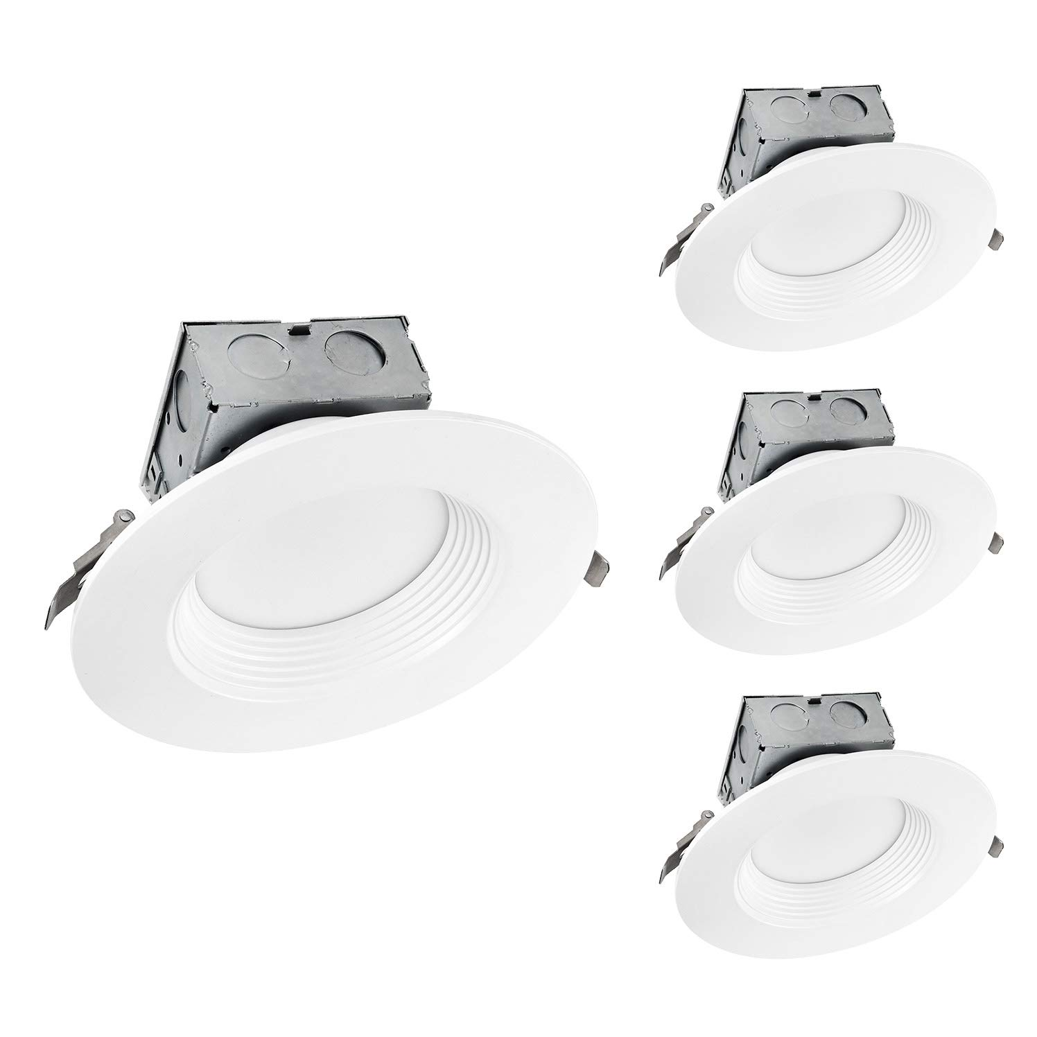 OSTWIN (4 Pack) 6 inch IC Rated Round LED Ceiling Recessed Downlight Kit With Junction box, Baffle Trim, Dimmable, 15W(120Watt Repl) 5000K Daylight, 1100Lm. No Can Needed ETL and Energy Star Listed