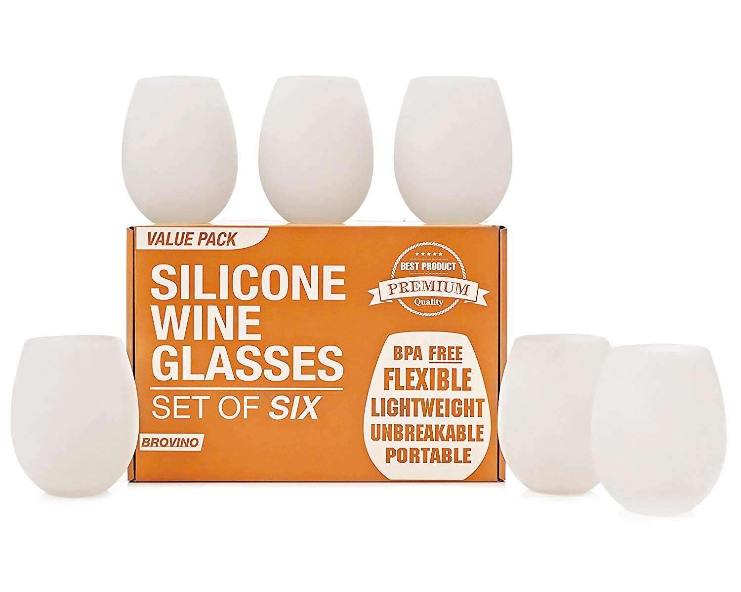 Silicone Wine Glasses - Set of 6 - Unbreakable Outdoor Rubber Wine Cups: 14 oz, Clear Silicone. 100% Dishwasher Safe - Shatterproof Glass for Travel, Outdoor, Picnic, Pool, Camping