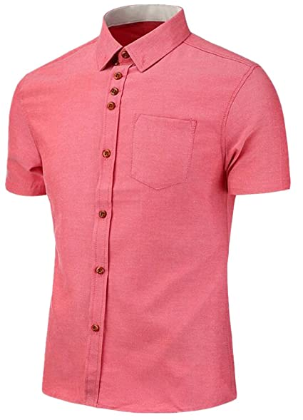 XTX Men's Summer Solid Color Short Sleeve Button Down Shirts at ...