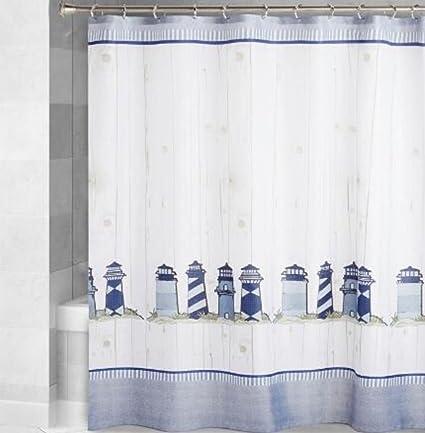 Blue Nautical Lighthouse Shower Curtain