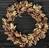 JMB Home and Design Fall Grapevine Wreath of Chocolate & Gold Metallic Oak Leaves 18 in diameter