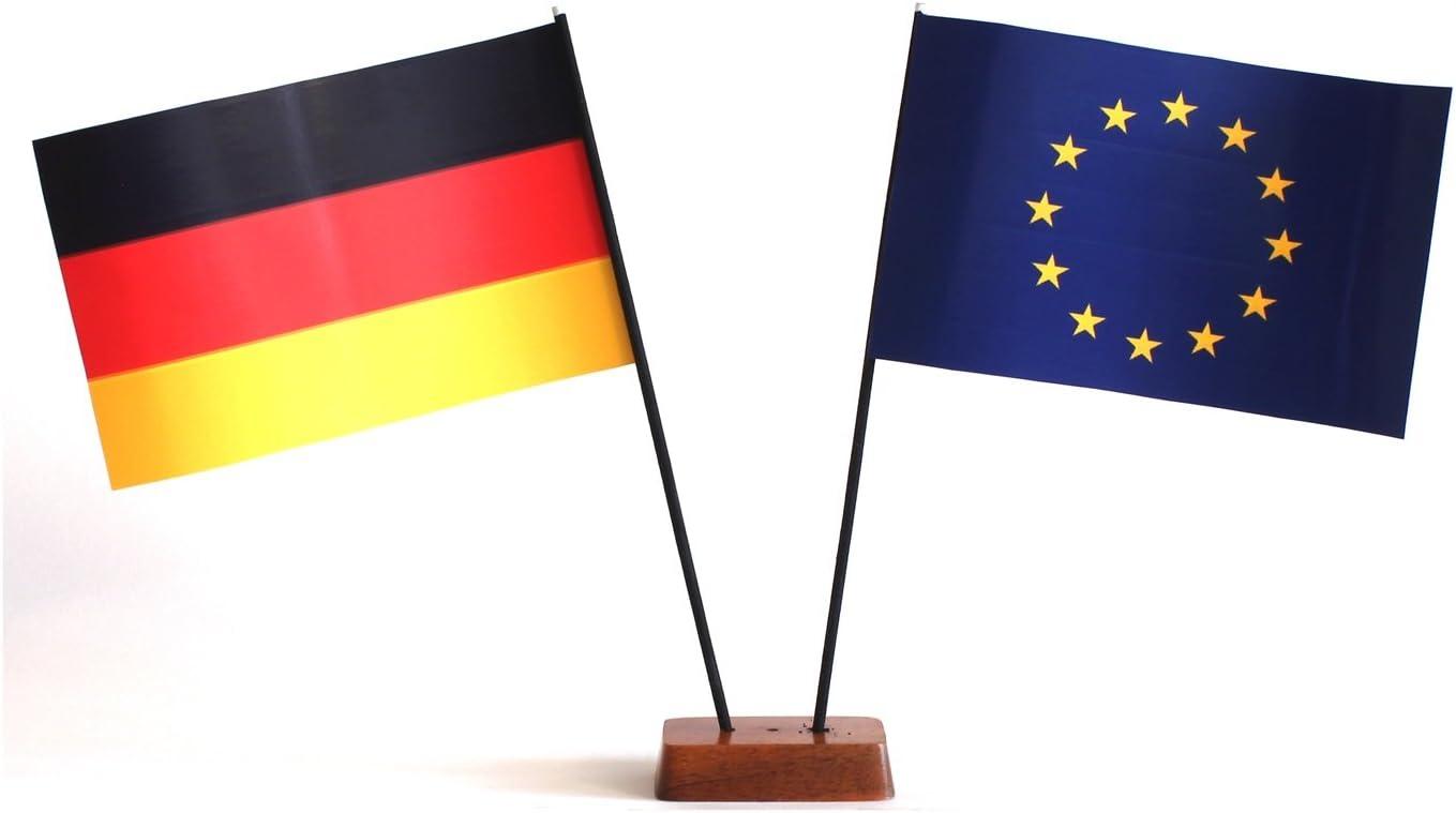 Gesamth/öhe ca Buddel-Bini Tischflagge Luxemburg und Deutschland 90x140 mm mit St/änder aus Holz 20 cm Tisch Flagge Fahne