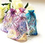 "100pcs Blue/White/Purple 3.5x5"" 4x6"" 5x7"" inch Coralline Organza Wedding Party Favor Candy Gift Bags Jewelry Pouch ~ Cafolo"