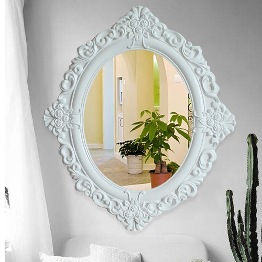 RXY-鏡 ヨーロッパの壁に取り付けられたミラー、KTVのホテルの装飾的なミラー (Color : 白, サイズ : 59x50cm) B07TXLBR3B 白 59x50cm