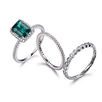 Amazon.com: 14k White Gold Green Emerald Wedding Ring Set,6x8mm ...