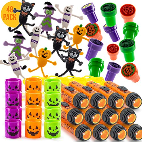 FAVONIR Halloween Party Favor Supplies Stuffers 48 PCs Goody Bag Assortment, Flash Lights Self-Ink Stampers, Bendable Characters, Magic Springs. Kids Trick Treat Toys. Reward Prizes, Carnival Events ()