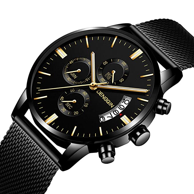 Amazon.com : XBKPLO Quartz Watches Mens Analog Wrist Luxury Watch Multifunction Calendar Window Temperament Steel Mesh Strap Business Watch Jewelry Gift ...