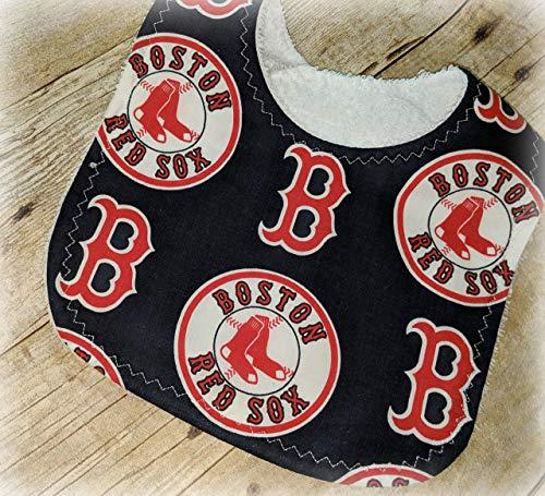 Handmade Baby Bib from Licensed Boston Red Sox Fabric