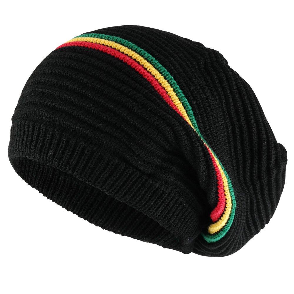 0e932081 Armycrew 11 Inch Deep Crown Style Rasta 100% Cotton Beanie Hat ...