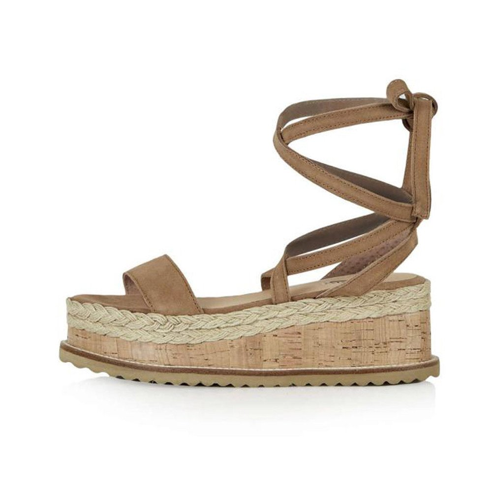 Wedge Sandals THENLIAN Ladies Roman Shoes Platform Woven Thick-Bottom Waterproof Wedge Sandals (36, Brown)