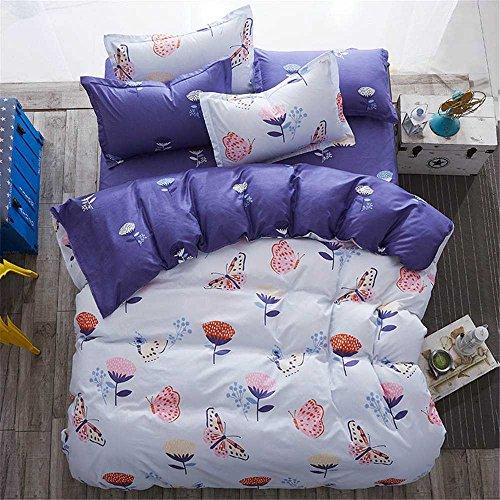 Butterfly Garden Duvet Cover Pillowcase Flat Sheet 4pcs Sheet Set Queen Lightweight Soft Comfortable Durable Print Bedding Set (Butterfly Garden Queen)