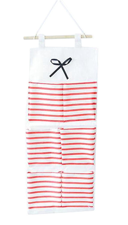 LAAT pared para sacos para colgar estantes lino y algod/ón para puerta armario para colgar bolsa de organizador de almacenamiento de ropa bolsas con varias plantas Red(L) S