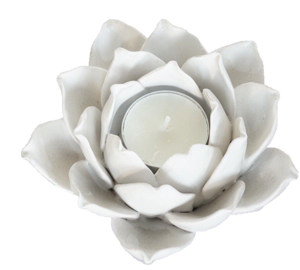 805fab49d1 Amazon.com: Ceramic Lotus Style Flower Tea Light Holder - White: Home &  Kitchen