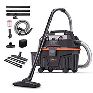 TACKLIFE Advanced Wet Dry Vacuum, Wet/Dry/Blowing 3 in 1, 4Gal 16.4ft Wire+5ft Hose, Multiple Acceessories, 1200W, Self-Police Mechanism, Suitable for Indoor and Outdoor Cleaning HXPVC01B