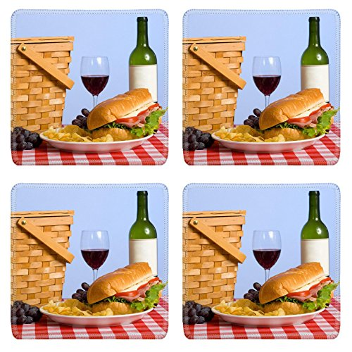 Purple Grapes Picnic Baskets (Liili Natural Rubber Square Coasters IMAGE ID: 3874956 A picnic lunch on a red and white gingham tablecloth including a sandwich chip grapes wine and a picnic basket in)