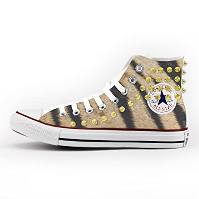 Converse All Star High Printed and Studded - handmade shoes - Italian Brand - Tiger