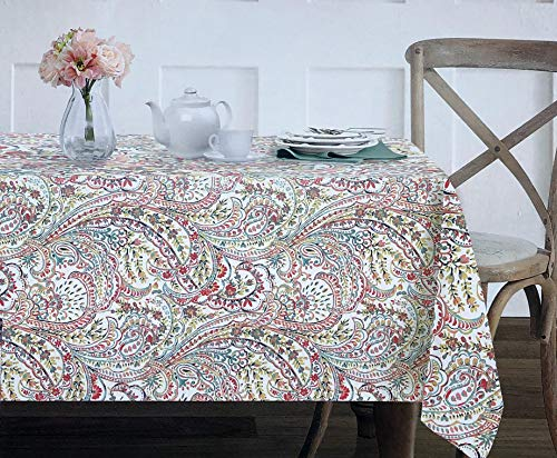 - Envogue Fabric Tablecloth Floral Paisley Pattern in Shades Red Yellow Blue Green on White, Laverna, Coral - 60 Inches by 84 Inches