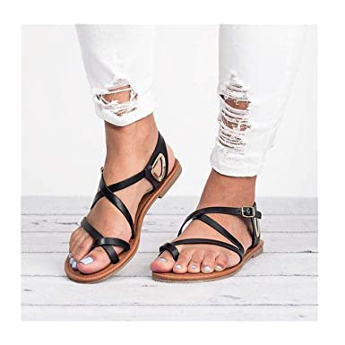 91b440031e57 Amazon.com  Challyhope - Women Shoes Gladiator Strappy Flat Open Toe Lace Up  Criss Cross Strap Ankle Wrap Summer Beach Thongs Sandals  Clothing