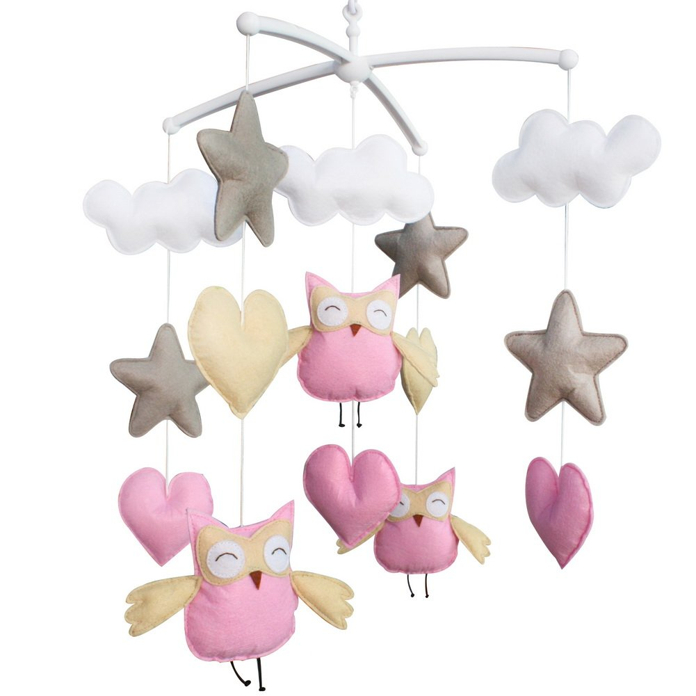 Baby Boy & Girl Bedding Rattle Toy, Baby Gift, Infant Bed Bell [Owl, Happiness] Blancho Bedding