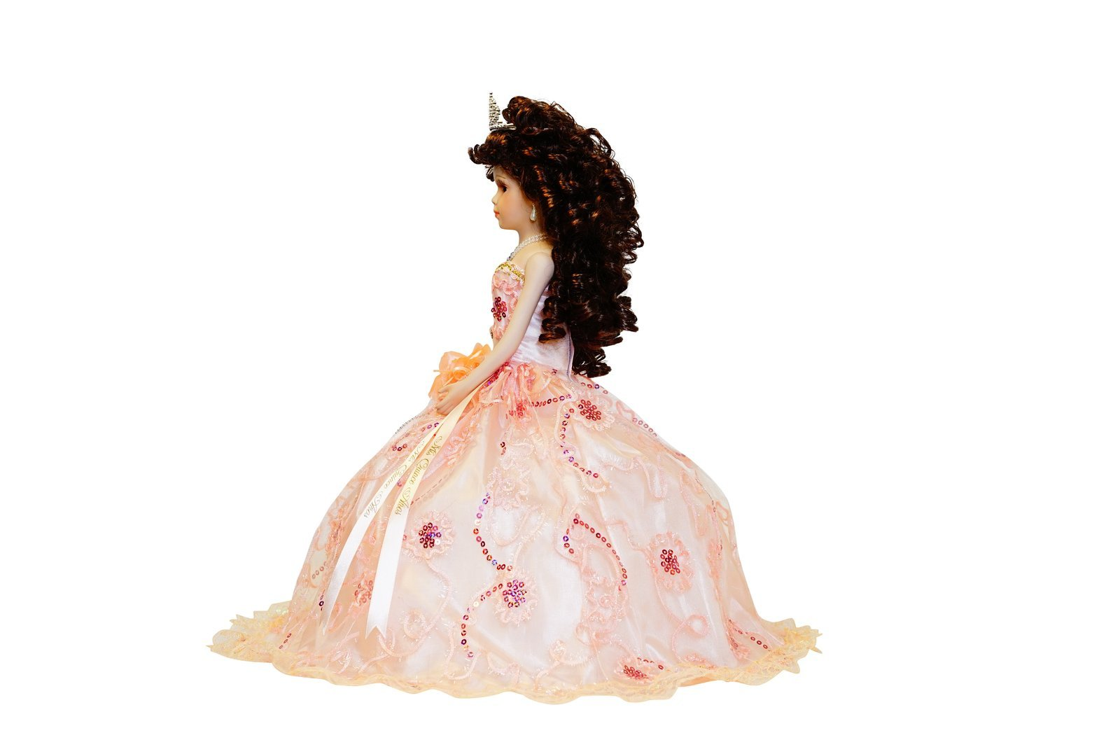 Kinnex Collections by Amanda 18'' Porcelain Quinceanera Umbrella Doll (Table Centerpiece)~ Peach~ KK18725-28 by Kinnex Collections by Amanda (Image #4)