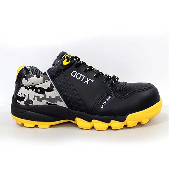 DDTX Ultraligeros con Cómodo Zapatos de Seguridad Puntera de ACERO Unisex-Adulto Negro(45) K9uwSWzH4