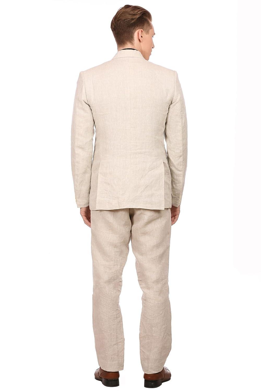 Wintage Mens 100/% Linen Notched Lapel All Season Natural Color Suit