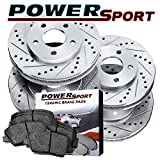 Full Kit Drilled Slotted Brake Rotors and Ceramic Pads 2004-2012 Mazda 3,3 Sport