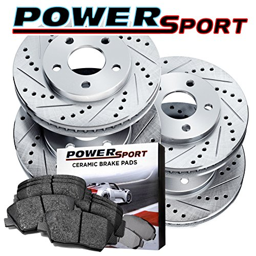 Full Kit Drilled Slotted Brake Rotors and Ceramic Pads 2004-2012 Mazda 3,3 (Drilled Brake Rotors Ceramic Pads)