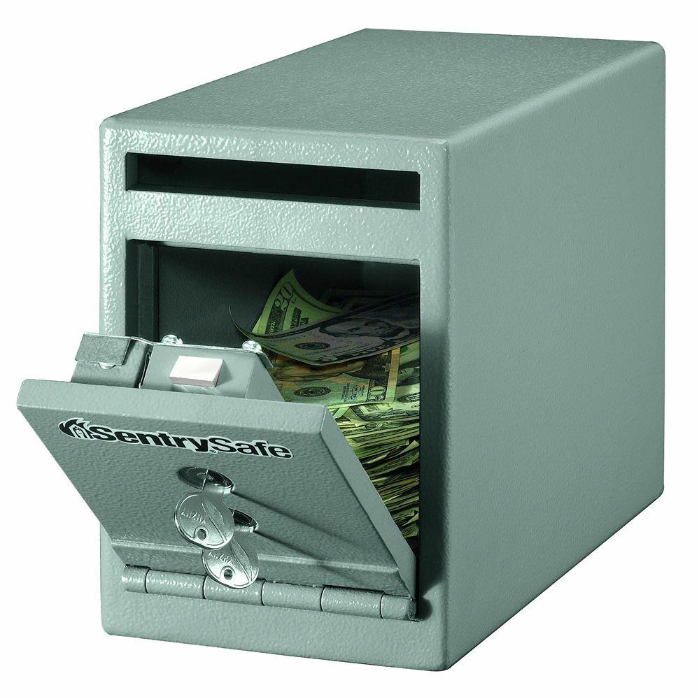 Sentry Dual Key Lock Under Counter Safe-Safe, Drop Slot, Dual Key Lock, 6''x12-3/10''x8-1/2'', Gray by SEN