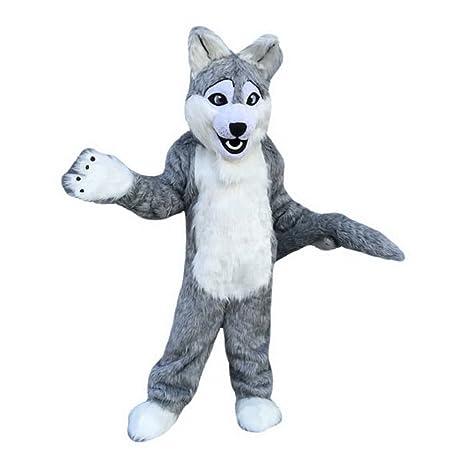 Grigio lupo mascotte costume personaggio dei cartoni animati adult