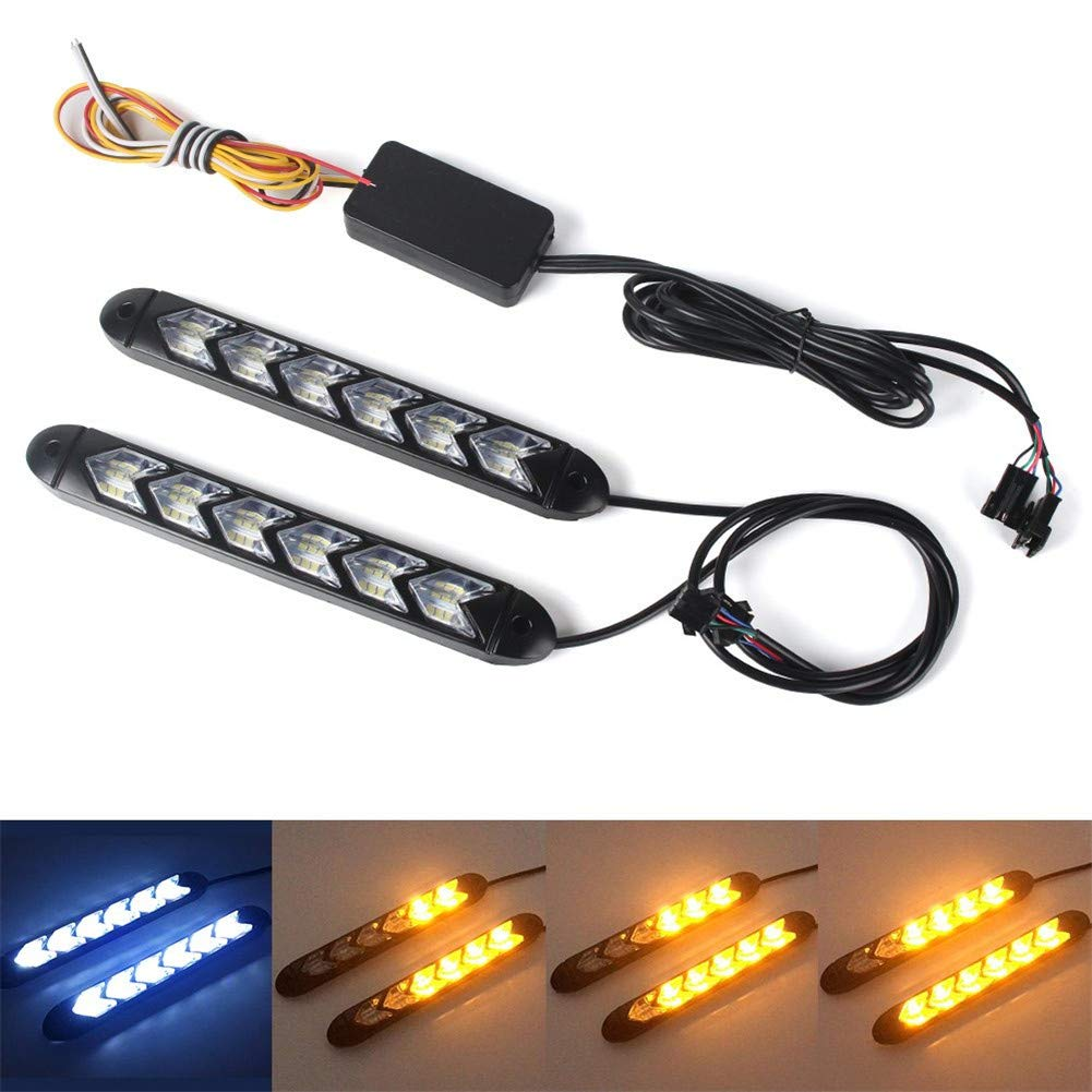 DEBBD 2x Impermeabile Auto led Switchback LED Daylight Faro Eye DRL Lampada Dynamic Sequential Brake Indicatore di direzione Daytime Running Light