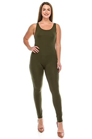 b1a9152f33 Amazon.com  The Classic Womens Stretch Cotton Sleeveless One Piece Unitard  Jumpsuit Bodysuits Small to Plus  Clothing