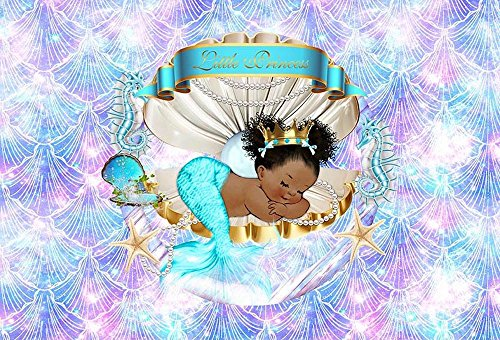 MEHOFOTO Mermaid Themed Shell Princess Baby Shower Photo Background Happy Birthday Party Decoration Banner Glitter Blue Backdrops for Photography 7x5ft]()