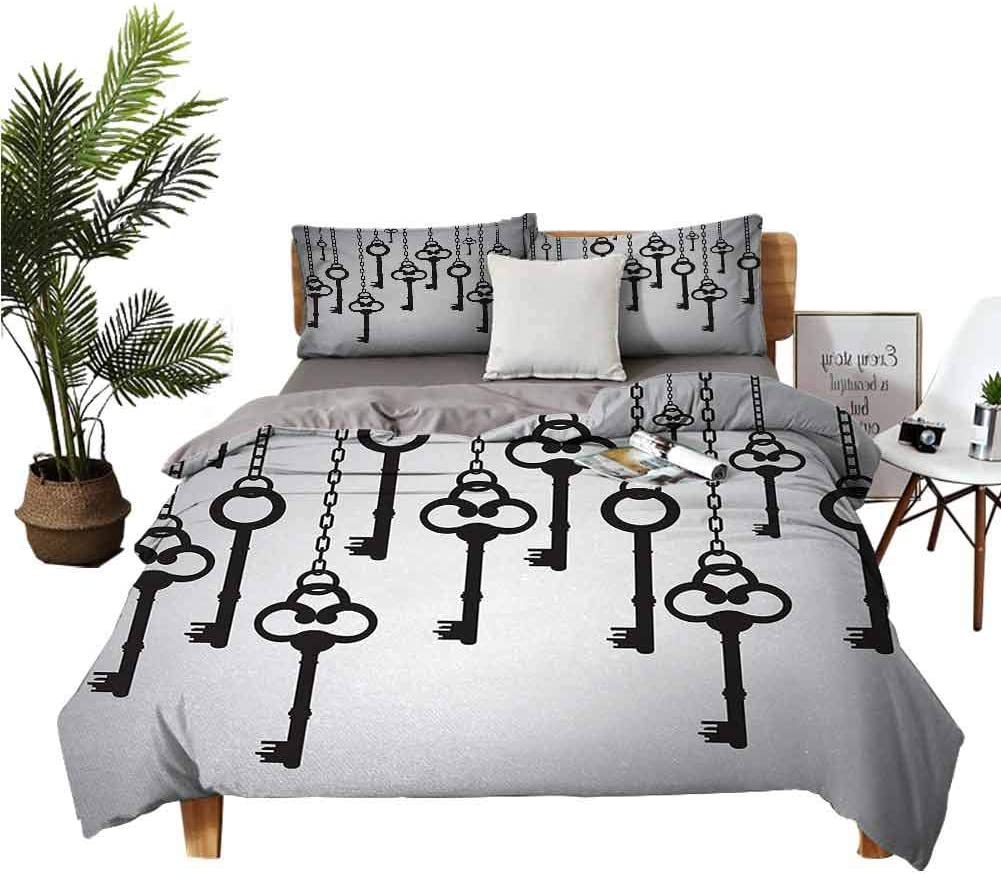 DRAGON VINES 4pcs Bedding Set Sheet Set Sheets Cotton Silhouettes of Old Keys Hanging Chain Links Unlocking Secure Home Opener Light Grey Black Man and Woman W85 xL85