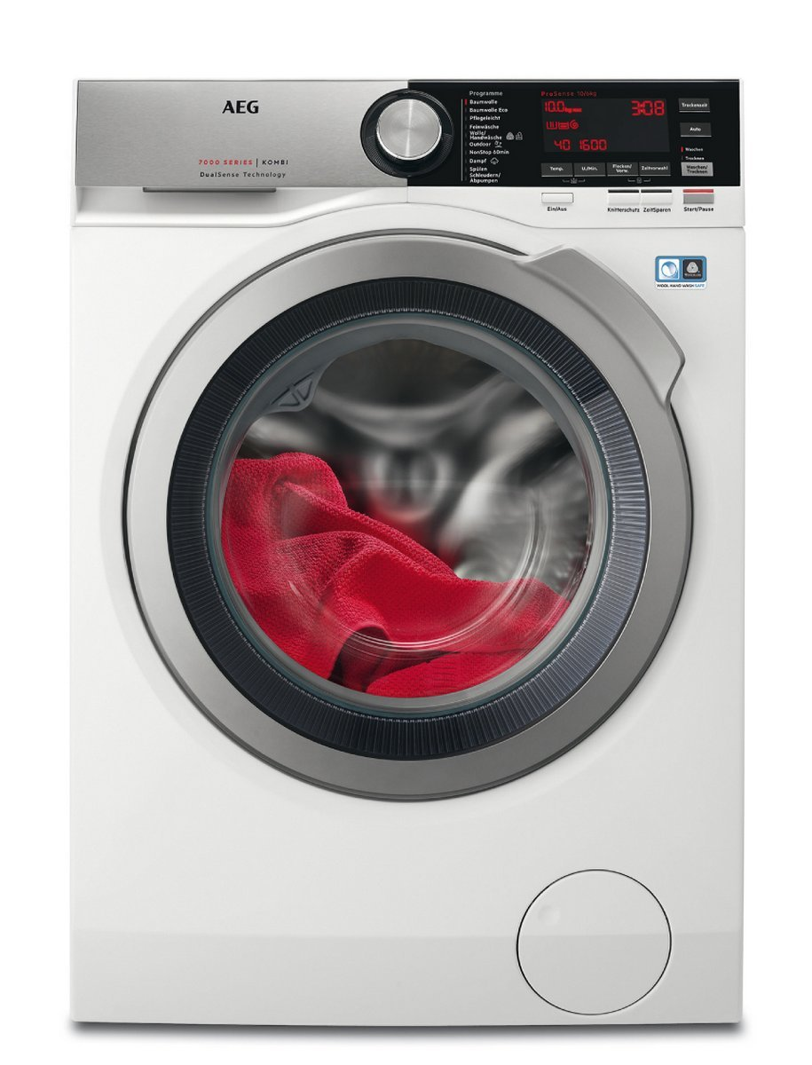 AEG L7WE86605 Waschtrockner Frontlader / Waschmaschine (10 kg) mit Trockner (6 kg) / effizienter Waschautomat und Wäschetrockner mit Material- und Mengenautomatik / XXL-Schontrommel / Energieklasse A (1340 kWh/Jahr) / weiß [Energieklasse A] 914605104