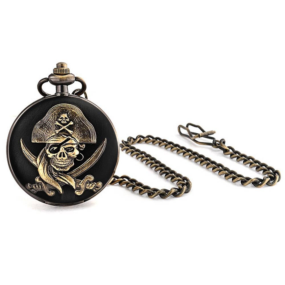 Bling Jewelry Pirate Skull and Crossbones Black Gold Plated Mens Pocket Watch with Engraving