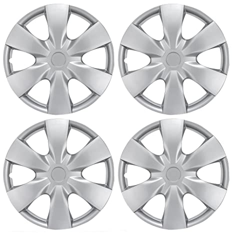 BDK KT-1008-15 Silver Hub Caps (Wheel Covers) for Toyota Yaris
