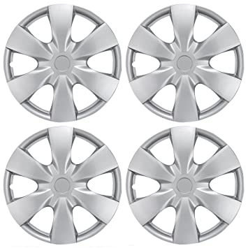 "BDK KT-1008-15 Silver Hub Caps (Wheel Covers) for Toyota Yaris 15"" – Four (4) Pieces Corrosion-Free & Sturdy – Full Heat & Impact Resistant Grade – ..."