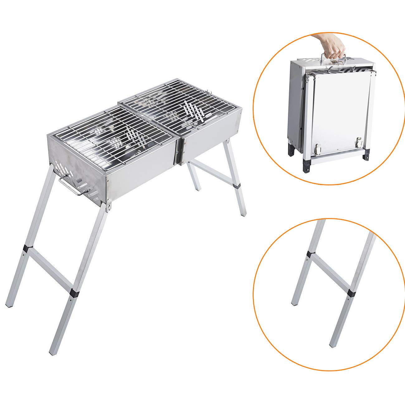 BEAMNOVA Portable Barbeque Grill with Handle & Feet Extensions Foldable Stainless Steel Mesh for Outdoor Camping Vegetables Burgers Fish Shrimp Steaks