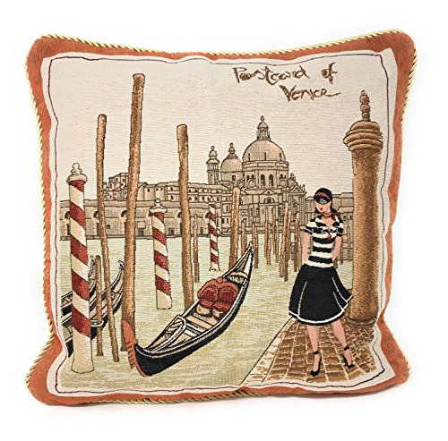 "DaDa Bedding Throw Pillow Cover - Elegant Accent Postcard of Venice Italy - 18"" x 18"""