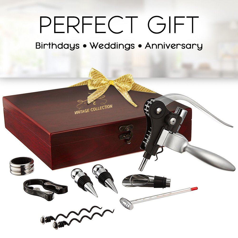Vintage Collection Lever Wine Opener & Foil Cutter and 9 Piece Accessories Set, Open Wine With Ease Like a Pro, Everything You'll Ever Need in a Deluxe Wooden Box – Great Wine Lovers Gift for Any Occa by Vintage Collection (Image #4)