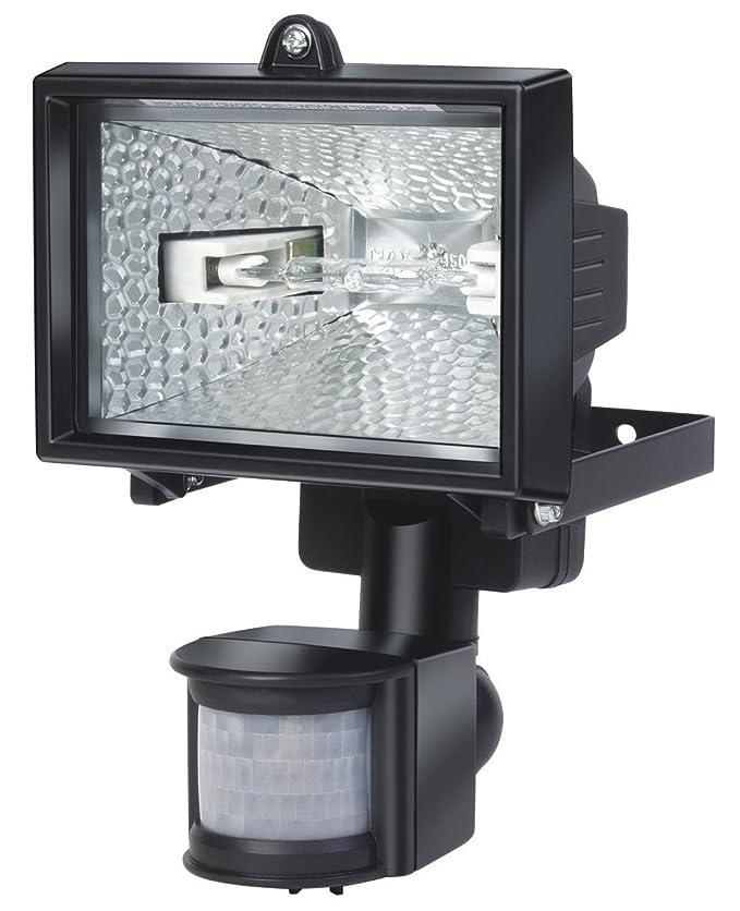 Electraline 63004 - Proyector halógeno con sensor de movimiento (IP44, 1500 lúmenes, 120 W) color negro: Amazon.es: Bricolaje y herramientas