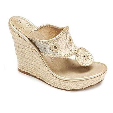 abe1955c4 Jack Rogers Marbella Espadrille Wedge - Cream Python Wedge Sandal - Size  10