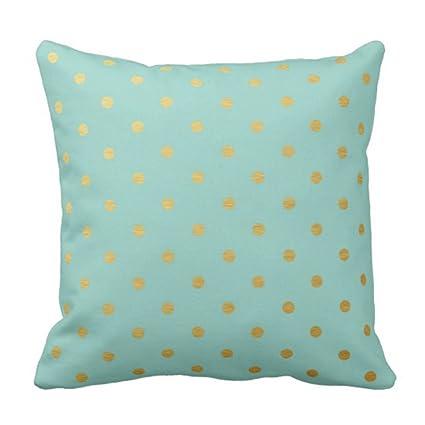Amazon TORASS Throw Pillow Cover Seafoam Gold Foil Polka Dots Delectable Seafoam Decorative Pillows