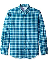 Izod mens Oxford Plaid Long Sleeve Shirt