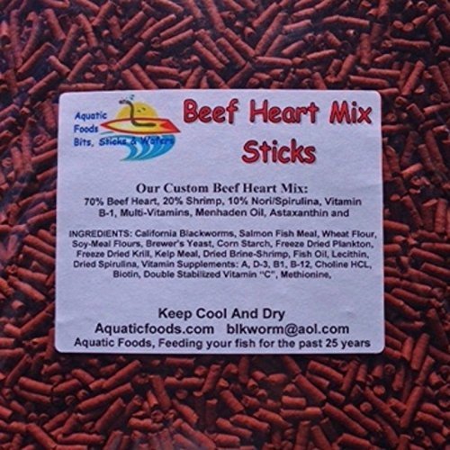 Heart Fish - S&B Beef Heart Mix Sticks for Discus, Cichlids, Bottom Fish, All Types of Fish...1/2-lb