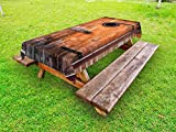 Ambesonne Rustic Outdoor Tablecloth, Photograph of Antique Knotted Pine Wood with Control Window Lumber Nature Design, Decorative Washable Picnic Table Cloth, 58 X 104 inches, Caramel Brown